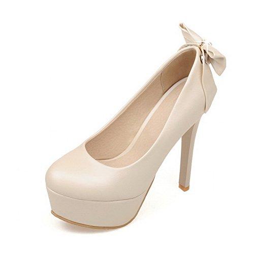 VogueZone009 Damen Ziehen auf Rund Zehe Stiletto PU Leder Rein Pumps Schuhe Cremefarben