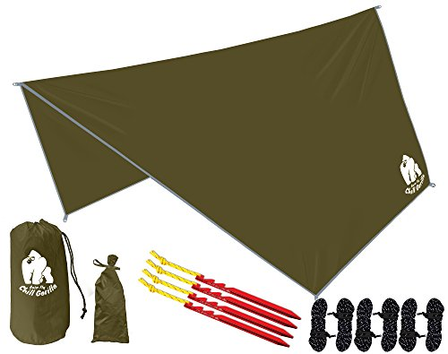 CHILL GORILLA HEX HAMMOCK RAIN FLY TENT TARP Waterproof Camping Shelter. Essential Survival Gear. Stakes Included. Lightweight. Easy to setup. RIPSTOP Nylon. OD GREEN (Chair Camping Rain)