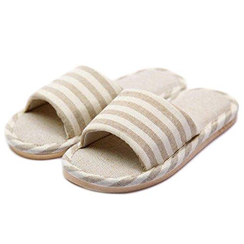 Cyber femmes Pantoufles Dintérieur Bout Ouvert Bande De Lin Coton Chaussures Antidérapantes Sandales Semelle Beige