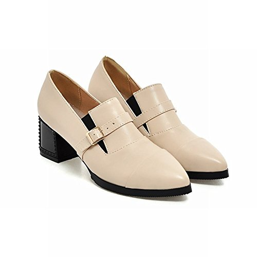 Carolbar Mujeres Pointed Toe Hebilla Sexy Office Lady Fashion Mid Chunky Bombas De Tacón Zapatos Beige