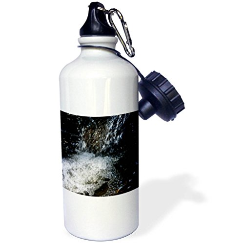 3dRose Alexis Photography - Nature Water - Fast stream of fresh cold water, bubbles and sakura petals - 21 oz Sports Water Bottle (wb_271483_1) (Spring Cold Creek Water)