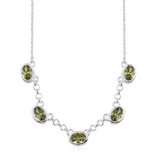 925 Sterling Silver Oval Peridot Cubic Zirconia CZ Pendant Necklace for Women 18