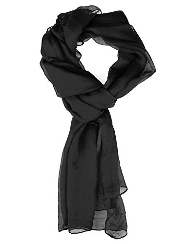 Scarf for Women - Soft Chiffon Oblong Lightweight Silk Scarves Shawl Solid Color-Black