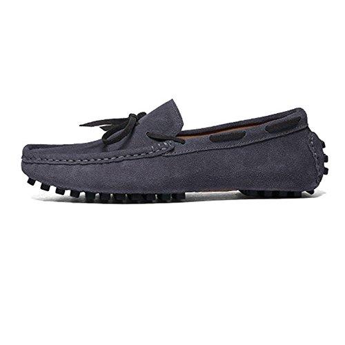 Lace EU Hombres Loafers Color Marrón Xiazhi Genuino Up Conducción Penny 39 tamaño shoes los Suede Gris de Superiores Cuero Mocasines UwS8q1