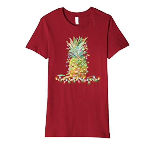 - Womens Christmas at the Beach Pineapple Tropical Cruise T-Shirt Small Cranberry