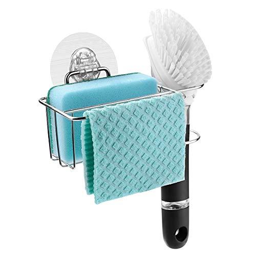 Bogeer Sponge and Brush Holder for Kitchen Sink Sink Caddy Organizer for Sponge, Brush and Dishcloth Sponge Holder Dishwashing Holder Drainer Rack Sponge Holder, Stainless Steel, Reusable Adhesive ()