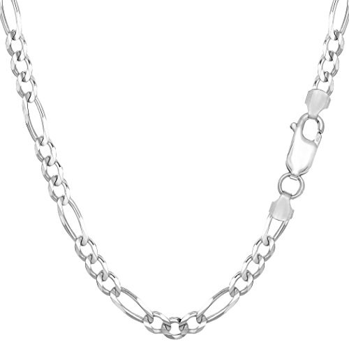 Sterling Silver Rhodium Plated Figaro Chain Necklace, 4.7mm, 20
