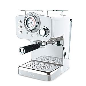IKOHS THERA Retro – Cafetera Express para Espresso y Cappucino, 1100W, 15 Bares, Vaporizador Orientable, Capacidad 1.25l, Café Molido y Monodosis, con Doble Salida (Blanco) 4192Fda2UzL