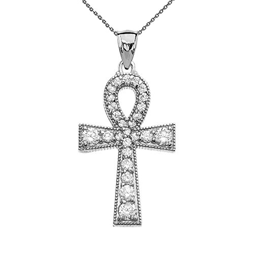 Cubic Zirconia Sterling Silver Ankh Cross Pendant Necklace, 18