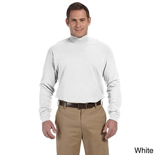 (Devon & Jones Men's Sueded Cotton Jersey Mock Turtleneck White 3XL)