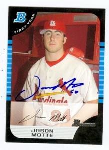 Jason Motte Autographed Baseball (Jason Motte autographed Baseball Card (St. Louis Cardinals) 2005 Topps Bowman #309)