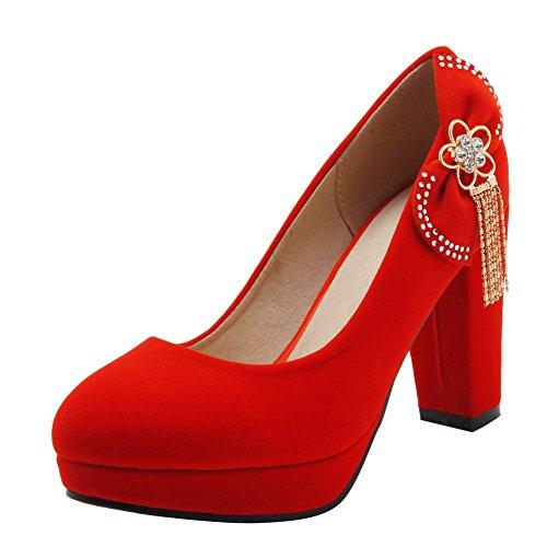 Rouge MissSaSa Nubuck Bout Escarpins Enfiler Ronde Chaussures Femmes Plateformes Fermetures à rp6rqxvw