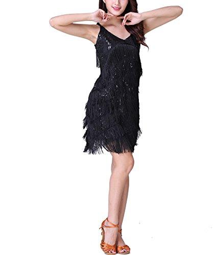 V Neck Fringe Sequin Speakeasy 1920 Vintage Prohibition Club Dress Costumes (Prohibition 1920s Costumes)