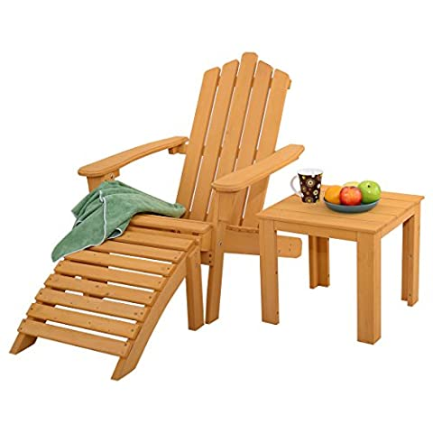 New Wood Adirondack Chair w/ Ottoman & Side Table Outdoor Patio Deck Garden Set (Adirondack Chairs With Ottoman)