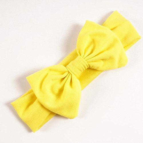 Kaarifirefly 12PCS moda colore solido fascia per capelli fasce Fasce per capelli con fiocco di cotone misto grande per bambine Multi