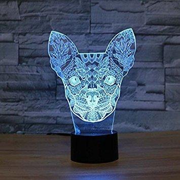 3d chihuahua hund nachtlicht illusion lampe 7 farbe ändern