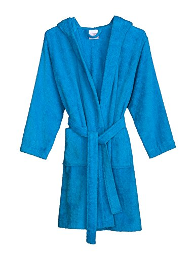 TowelSelections Big Girls' Robe, Kids Hooded Cotton Terry Bathrobe Cover-up Size 12 Blithe Blue (Cotton Boys Robe)
