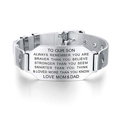 To My Son Always Remember You are Braver Stronger Courage Quotes Bracelet Love Gift from Mom and Dad (Congratulations To My Son On His Graduation)