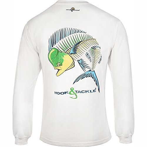 Hook & Tackle Men's Dolphin Action Xray Long Sleeve Sun Protection Fishing Shirt White Large