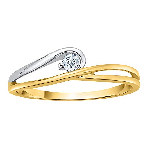 KATARINA Diamond Solitaire Promise Ring in 10K Two Tone Two tone Gold (1/20 cttw, I-J, I1) (Size-8)