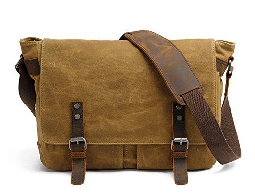Icon Womens Laptop Bag - HuaChen Mens Canvas Leather Laptop Messenger Bag Shoulder Crossbody School Bag Satchel 14 Inch (M49_Khaki)