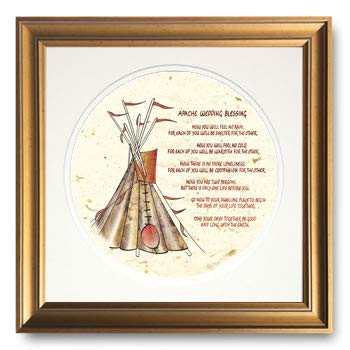 Apache Wedding Blessing, Framed Calligraphy Print, 10x10 Gold Frame, Double Cream mats