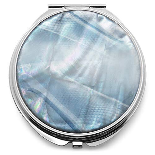 Makeup Compact Pocket Mirror Mother of Pearl Metal Round Double Sided Folding -
