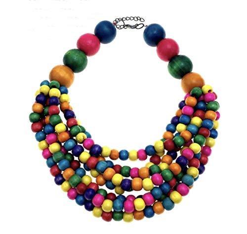 (Nataliya African Bead Jewelry Set (Brown Multilayer Wood Bead Choker))