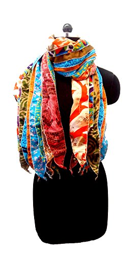 "Lot of 2 - Indian Sari Patches Reversible Scarf, Colorful Striped Scarf – Assorted Colors….""Gorgeous Looks"" (Scarf Sari)"