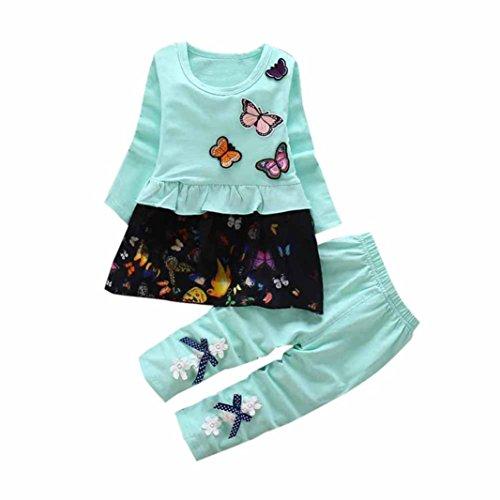 Digood Toddler Newborn Baby Kids Girls Butterfly T-Shirt Tops Skirt +Bowknot Pants Outfits Set Clothes (0-12 Months, Green)