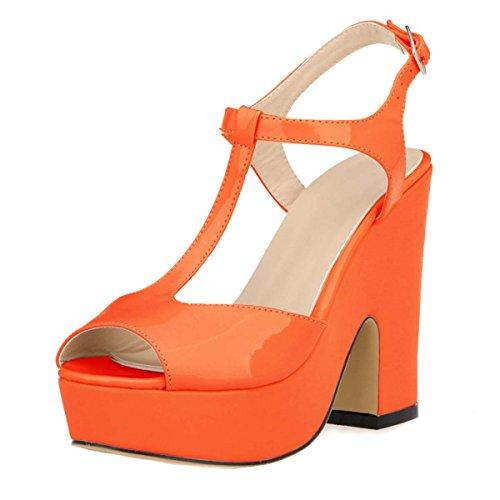 HooH Women's Peep Toe T-Strap Wedding Chunky Sdandal Orange P9qMakm9