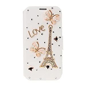 ZCL DIY Eiffel Tower and Butterfly with Rhinestone Full Body Leather Case with Stand for Samsung Galaxy S4 i9500