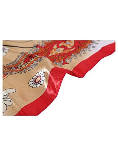 Donne Di Rosso Colore Floreale Quadrata Collo Cachemire Di Da Contrasto Beige Sciarpa Casuale Modello Uxcell Fazzoletto BAqwdHFF