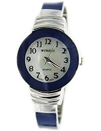 Women's Classic Chrome And Navy Blue Bangle Cuff Watch