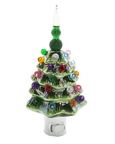 ReLIVE - Green Pearlized Ceramic Christmas Tree Night Light ()