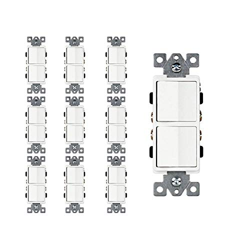 Dynamics Double Paddle Combination Switch, 15 Amp, 120/277 Volt, Decora Single-Pole, Commercial Grade, Grounding, White   10 ()