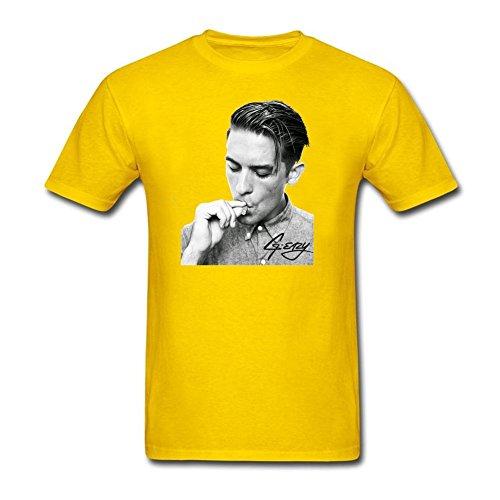 QLJYKJ G-Eazy Smoking Album 100% Cotton Tee Shirts For Mens Yellow XL