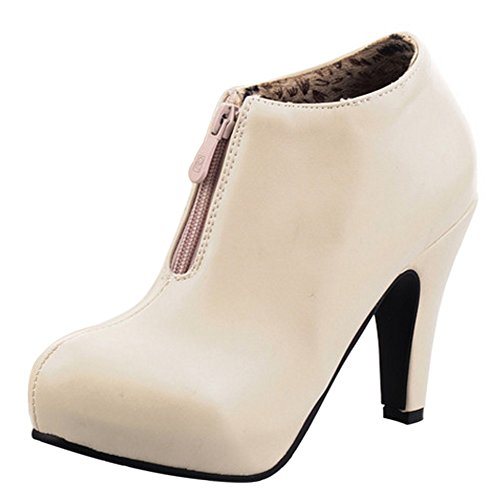 COOLCEPT Women Boots Zipper Beige