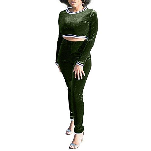 MS Mouse Womens Velour Long Sleeve Crop Top Bodycon Pants 2 Piece Set Clubwear S (Le Top Velour Overalls)