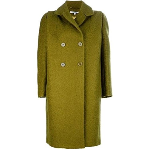 Carven Lime Green Mohair Double Breasted Oversized Pea Coat Cropped Double Breasted Peacoat