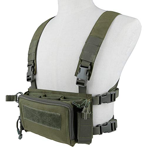 Huenco Camouflage Tactical Vest Airsoft Ammo Chest Rig 5.56 9mm Magazine Carrier Combat Tactical Military (Airsoft Chest Rigs)