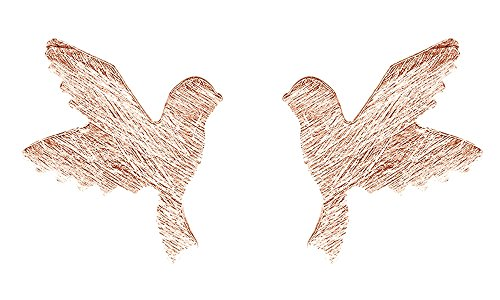 Black Friday Deals 14K Rose Gold Over Sterling Silver Doting Birds in Flight Stud Earrings
