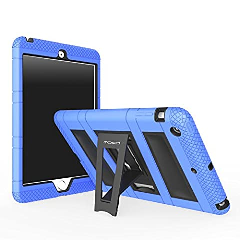 MoKo iPad Mini 3 / 2 / 1 Case, Silicone + Black Hard Polycarbonate Protector with Foldable Stand Cover Case for Mini 3, Mini 2 and Mini (2012 1st gen), BLUE (Will not fit iPad Mini (Hard Cases Ipad Mini)