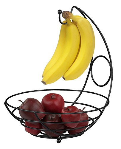 Beautiful Simply Perfect Design Black Classic Fruit Bowl Basket with Banana Tree Keep Fruit & Bananas Neat And Close At Hand (Sympathy Baskets Nj)