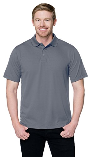 Tri Mountain Mens Peak Performers Mini Pique Polo Gray Xl