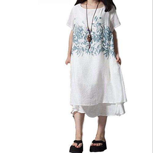 気配りのある第三醜いSangoje 涼しい 体型カバー ロング丈 ワンピース 夏 森ガール 花柄 ゆったり 大きいサイズ
