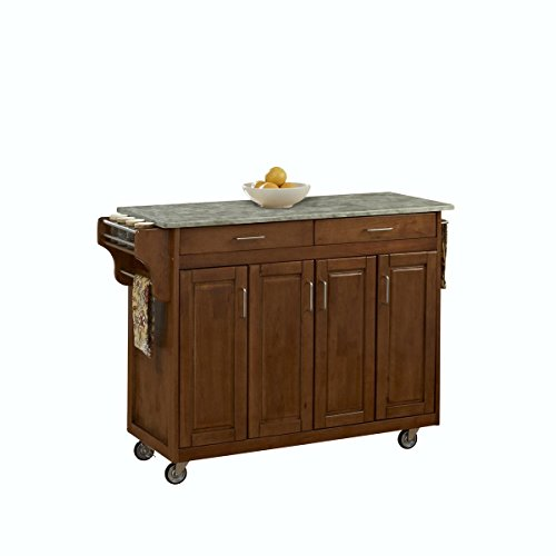 Create-a-Cart Oak 4-Cabinet Door with Concrete Top by Home Styles