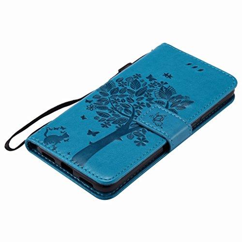 Yiizy Huawei P8 Lite (2017) (Honor 8 Lite, Nova Lite) Custodia Cover, Alberi Disegno Design Sottile Flip Portafoglio PU Pelle Cuoio Copertura Shell Case Slot Schede Cavalletto Stile Libro Bumper Prote