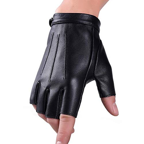 Black Driving Gloves - Fingerless Gloves PU Leather Gloves Touchscreen Texting Dress Driving Moto Glove for Men Women Teens (L)