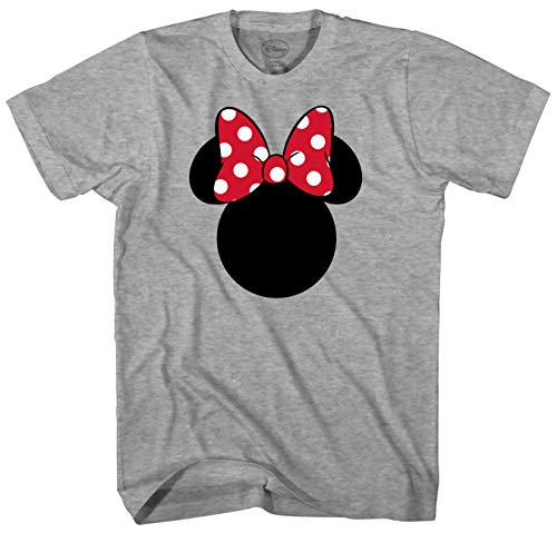 Disney Minnie Mouse Silhouette Men's Adult Graphic Tee T-Shirt (Grey Heather, -